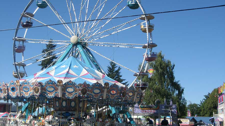 Carnival rides at 2015 Yelm Prairie Days