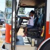 Kyla Peterson sits in SETFA's (Yelm & Rainier Fire Department) ladder truck.